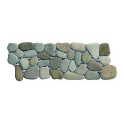 "CNK Tile - Sea Green Pebble Tile Border - Each pebble is carefully selected and hand-sorted according to color,  size and shape in order to ensure the highest quality pebble tile  available.  The stones are attached to a sturdy mesh backing using  non-toxic, environmentally safe glue.  Because of the unique pattern in  which our tile is created they fit together seamlessly when installed so  you can't tell where one tile ends and the next begins!   Usage:   Suitable for interior and exterior use, walls, floors, showers, backsplashes and pools.   Details:  Stone size: Approx. 3/4"" to 2-1/2""   Thickness: Approx. 1/2""   Dimensions per sheet: 4"" High by 12"" Wide  Mounting: Mesh-backed"