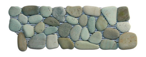 """CNK Tile - Sea Green Pebble Tile Border - Each pebble is carefully selected and hand-sorted according to color,  size and shape in order to ensure the highest quality pebble tile  available.  The stones are attached to a sturdy mesh backing using  non-toxic, environmentally safe glue.  Because of the unique pattern in  which our tile is created they fit together seamlessly when installed so  you can't tell where one tile ends and the next begins!   Usage:   Suitable for interior and exterior use, walls, floors, showers, backsplashes and pools.   Details:  Stone size: Approx. 3/4"""" to 2-1/2""""   Thickness: Approx. 1/2""""   Dimensions per sheet: 4"""" High by 12"""" Wide  Mounting: Mesh-backed"""
