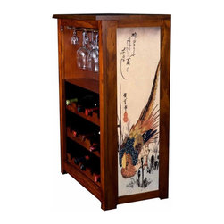"Kelsey's Collection, Inc. - Hiroshige Wine Cabinet With Pheasant And Fern - Pine Wine Cabinet  stores wine and glassware with famous artwork by Ukiyoye artist Aldo Hiroshige giclee-printed on canvas side panels. The art is giclee printed on canvas with three coats of UV inhibitor to protect against the sunlight and thereby extend the longevity of the art. The canvas is then glued onto panels and inserted into the frames. Kelsey's Wine Cabinet showcases and stores wine and glassware with solid radiata pine construction. Famous artwork is giclee-printed on canvas side panels which provide a unique decorating touch of art that enhances the product and reflects your home-decor style.  The frame, top, and racks are solid New Zealand radiata pine with a hand stained and hand rubbed rubbed medium reddish brown finish, that is then protected with a  lacquer coat and top coat.. Kelseys Collection is where ""Great Art & Function Meet""  This model is also referred to as the Jessica model. Dimensions are 33 by 22 by 12 deep.  Holds 15 wine bottles and full sized wine glasses.  Some assembly required."