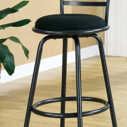 Monarch - 43in.H Swivel Barstool in Silver Grey Metal - Set of 2 - This sleek and contemporary Mecca collection, gunmetal colored 29 in. high bar stool is perfect for all types of game rooms and dining rooms. With its high horizontal slat back, comfortable black pivoting seat and well positioned footrest, this unit is sure to be the staple of many memorable evenings with friends and family.