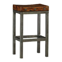 Hardy Byron Bar Stool - This unique bar stool will lend vintage industrial modern style to your room.