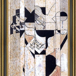 """Art MegaMart - Juan Gris Guitar and Glass - 16"""" x 24"""" Framed Premium Canvas Print - 16"""" x 24"""" Juan Gris Guitar and Glass framed premium canvas print reproduced to meet museum quality standards. Our Museum quality canvas prints are produced using high-precision print technology for a more accurate reproduction printed on high quality canvas with fade-resistant, archival inks. Our progressive business model allows us to offer works of art to you at the best wholesale pricing, significantly less than art gallery prices, affordable to all. This artwork is hand stretched onto wooden stretcher bars, then mounted into our 3 3/4"""" wide gold finish frame with black panel by one of our expert framers. Our framed canvas print comes with hardware, ready to hang on your wall.  We present a comprehensive collection of exceptional canvas art reproductions by Juan Gris."""