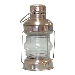 Handcrafted Model Ships - Chrome Iron Anchor Lamp Oil Lamp Nautical Decor Nautical Party Decorations - New - Expertly Handcrafted from brilliantly polished chrome and featuring a working Fresnel lens, this anchor lantern is a fully functional oil lamp that you can actually light and use. Classically styled, the chrome anchor oil lantern is an accurate replica anchor lamp of the type historically used on sailing and steam ships. Featuring a handle true to the original design of period lamps, which allows the lantern to be hung on a hook or rope, it is deal in a patio or garden, or may be placed on a shelf or table indoors or out to provide stylish ambient light.