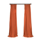 """Exclusive Fabrics & Furnishings, LLC - Harvest Orange Faux Silk Taffeta Curtain - 56% Nylon & 44% Polyester. 3"""" Pole Pocket with Hook Belt. Lined. Interlined. Imported. Weighted Hem. Dry Clean Only. SOLD PER PANEL."""