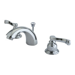 """Kingston Brass - Two Handle 4"""" to 8"""" Mini Widespread Lavatory Faucet with Brass Pop-up KB8951FL - Two Handle Deck Mount, 3 Hole Sink Application, 4"""" to 8"""" Mini-Widespread, Fabricated from solid brass material for durability and reliability, Premium color finish resists tarnishing and corrosion, 1/4 turn On/Off water control mechanism, 1/2"""" IPS male threaded inlets with rigid copper piping, Duraseal washerless cartridge, 2.2 GPM (8.3 LPM) Max at 60 PSI, Integrated removable aerator, 4-1/2"""" spout reach from faucet body, 3-1/2"""" overall height. Brass pop-up included.. Manufacturer: Kingston Brass. Model: KB8951FL. UPC: 663370001321. Product Name: Two Handle 4"""" to 8"""" Mini Widespread Lavatory Faucet with Brass Pop-up. Collection / Series: Royale. Finish: Polished Chrome. Theme: Contemporary / Modern. Material: Brass. Type: Faucet. Features: Drip-free washerless cartridge system"""