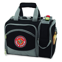 Picnic Time - University of Louisiana Lafayette Malibu Picnic Pack in Black - Insulated pack with picnic service for 2 made of 600D polyester canvas. The elegant and unique Malibu shoulder pack is perfect for picnics, concerts, or travel. This tote has an integrated wine storage section and a spacious food storage section with removable liner. The adjustable shoulder strap makes it easy to carry. A wonderful gift idea.; College Name: University of Louisiana Lafayette; Mascot: Ragin Cajuns; Decoration: Digital Print; Includes: 2 Wine glasses (acrylic), 2 Napkins (cotton 14 x 14 in.), 1 Corkscrew (waiter style stainless steel), 1 Cutting board (wood 6 x 6 in.), 1 Cheese knife (stainless steel w/wood handle), 2 Plates (melamine 9 in.), 2 Ea. Knives forks & spoons (stainless steel), 2 Napkins (cotton 14 x 14 in.)