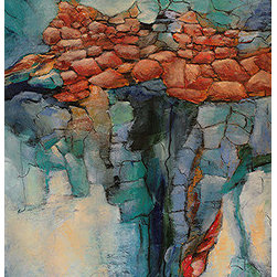 Boulders Ii (Original) by Alicia Marie Short - I enjoy working with mixed media to create landscape scenes in an abstract style. Boulders are strong images that few people notice and realize how beautiful they can be.