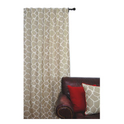 Giraffe Window Panel Khaki on Cream