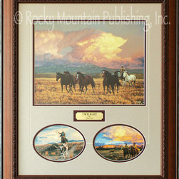Rocky Mountain Publishing - Twilight 3 Piece, Tim Cox Cowboy Art Framed Set 20x24 - This  beautiful  combination  of  cowboy  art  images  combines  a  larger  focal  print  with  two  smaller  accessory  horse  paintings.  Each  image  combines  the  strength  and  power  of  horses  and  riders  with  the  serenity  of  mountain  vistas.  The  beautiful  combinations  of  equine  art  created  by  Tim  Cox  are  a  great  addition  for  any  western  art  lover.