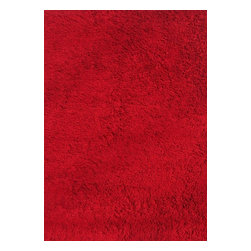 """Fun Rugs - Kids Fun Shags 4'3""""x6'6"""" Rectangle Red Area Rug - The Fun Shags area rug Collection offers an affordable assortment of Kids stylings. Fun Shags features a blend of natural Red color. Machine Made of 100% Chenille Cotton the Fun Shags Collection is an intriguing compliment to any decor."""