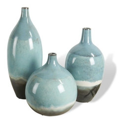 Interlude - Oslo Vases - Set of three bottle vases in reactive glaze oslo blue finish.