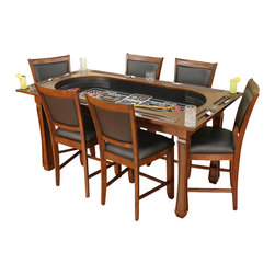 American Heritage - Burlington 7-Piece Game Table and Chairs Set - Set includes table and 6 chairs. Hi-Top 3-in-1 Craps table. Flip-top dining and game-playing surface. Comes with six coordinating high-back Westwood chairs with Black leatherette seating. Finish Color: Suede. Minor Assembly is Required. 75 in. W x 40 in. D x 37.5 in. H