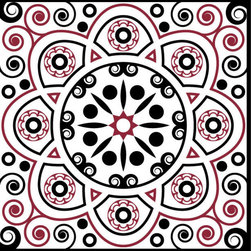 Odhams Press - Victorian Scroll Red RETile Decal, Clear Background - RETile decals can be used to accent or transform your existing ceramic, stone or glass tiles. They are easy to apply and can be removed in the future without leaving a sticky residue.