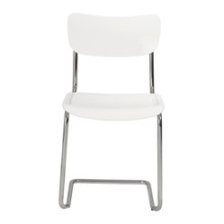 Erling Side Chair (Set Of 4)-Wht/Chrm - Give your space a breath of fresh air with this free-flowing chair. The graceful base continues up to securely support the floating seating area and the partially open backrest.