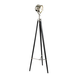 """Inviting Home - Searchlight Tripod Lamp - Reproduction of the searchlight right from the bridge of a 1940s Navy destroyer; 26-3/8"""" x 26-3/8"""" x 78-3/4""""H; Reproduction of the searchlight right from the bridge of a 1940s Navy destroyer features inside reflector center screen; aluminum grip; hand-polished aluminum cast cradle; ebonized rosewood tripod; tri-arm locking mechanism; antique brass compass; floor dimmer. Searchlight right from the bridge of a 1940s Navy destroyer... heavy cast bronze and aluminum it must be nautical. Is part of its appeal that it's just engineered not designed? Form follows function.... Balanced on a surveyor's tripod this searchlight made of nickel and brass. Searchlight tripod lamp looking like a million dollars it smells of salt and sea while managing to convey cool and modern. It's salvage vintage salvage. This tripod lamp translates into sophisticated home decor."""