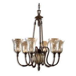 Uttermost - Galeana 6-Light Iron Chandelier - Six mouthblown glass shades and handcrafted iron work, make this chandelier dance. Elegant and traditional, you'll cherish the fanciful quality of this light source. Hang over a wooden farm table or a modern dining area — both will shine under the light of this fixture.