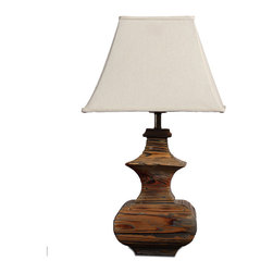 Asian Traditional Handmade Wood Table Lamp With Square Bell Shade - Wood table lamp with simple item and which features an antique finished that's handmade applied in layers to bring out the natural grain and markings. Handmade lamps with wood grain