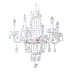 "6 Light Empire Crystal Chandelier - This ornate vintage-inspired 6-light Empire chandelier has been painted ivory. It is draped with long sparkly crystal chains and decorated with plenty of teardrop prisms, French pendants, fancy-cut glass bobeches and gorgeous pink porcelain roses in two sizes. The chandelier measures 21"" wide across the arms and 22"" long down to the sparkly crystal ball. A very nice size and gives off lots of light!"