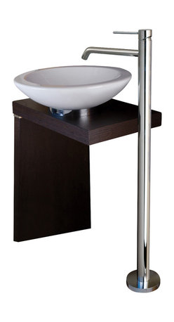 WS Bath Collections - WS Bath Collections Light Free Standing Bathroom Sink Faucet - Save space in your bathroom with a chic free-standing sink. The polished-chrome finish is a modern complement to the wood base. Keep a basket underneath for extra linens or toiletries. It's a great alternative to a bulky vanity.