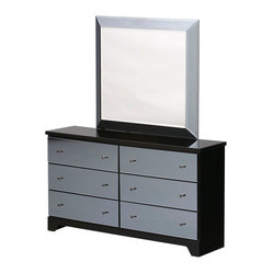 Standard Furniture Parisian 6 Drawer Dresser w/ Mirror in Smoked Mirror