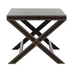 "Safavieh - Jeanine X End Table Charcoal - ""X"" marks the spot. And the charcoal grey Jeanine X Bench would feel at home among the posh decor of a Manhattan Pre-war apartment or a contemporary Hollywood mansion. Crafted with iron nail head detail, It's a perfect accent piece for any soiree that requires pomp and circumstance."