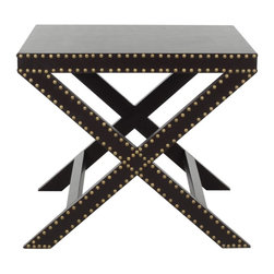 Safavieh - Jeanine X End Table Charcoal - �X� marks the spot. And the charcoal grey Jeanine X Bench would feel at home among the posh d�cor of a Manhattan Pre-war apartment or a contemporary Hollywood mansion. Crafted with iron nail head detail, it�s a perfect accent piece for any soiree that requires pomp and circumstance. (Pending)
