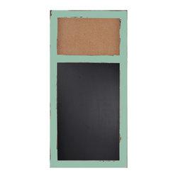 "Enchante Accessories Inc - Distressed Wood Cork Bulletin Board & Chalk Board  16""x 32""(Teal) - This message board features a Distressed Wooden Framed Cork Board / chalkboard combination."