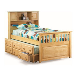 Atlantic Furniture - Twin Captain's Twin Bed / 3-Drawer Trundle / Natural Maple - Versatile and lovely, this bed offers an underbed storage chest with drawers built inside the frame. The headboard features shelves and two cabinets. The underbed storage chest features four drawers with cabinet.