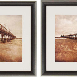 Paragon Decor - Vintage Pier Set of 2 Artwork - Piers are bathed in sunset.  Matted in oyster and framed in wood finish molding with antique silver edge.