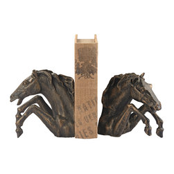 Sterling Industries - Bascule Bookend in Bronze, Set of 2 - Formed from solid cast iron these heavy weight bookends give a nod to the equestrian lover. The sculpture is executed in detail as this horse takes a fence.