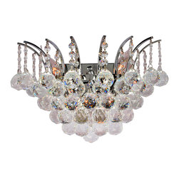 Worldwide Lighting - Empire 3-Light Chrome Finish Crystal Wall Sconce - This stunning 3-light Crystal Wall Sconce only uses the best quality material and workmanship ensuring a beautiful heirloom quality piece. Featuring a radiant chrome finish and finely cut premium grade crystals with a lead content of 30%, this elegant wall sconce will give any room sparkle and glamour.