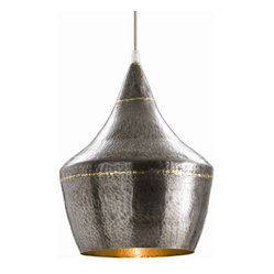 Arteriors - Mason Pendant, Small - For you heavy metal purists, this small pendant will light up your stage. The iron body is coated in a hammered, antique silver finish and accented with brass stripes. For a room that needs some boom, this piece is solid gold.