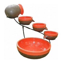 Smart Solar - Smart Solar Tangerine Ceramic Solar Cascade with Rustic Brown Finish -
