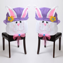 Easter Bunny Girl's Chair Cover - They may be a little tacky, but admit it — you love these Easter Bunny chair covers! If you think they're a bit much, only put them on the kids' chairs.