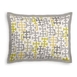Gray & Citron Modern Cross Motif Custom Sham - Stay classy, America!  Add a few Tailored Shams with crisp solid edging to create a bedset with the perfect mix of contemporary style and classic elegance. We love it in this gray and chartreuse modern geometric in medium weight cotton.  This may just sum up what your living space is missing.