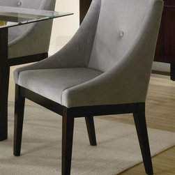 Coaster - Alvarado Dining Chair in Cappuccino Finish - Set of 2. Transitional style. Gray microfiber fabric upholstery. Made from wood veneers and solids. 25 in. W x 23.75 in. D x 36.25 in. H. WarrantyThis durable fabric is comfortable and will last through family dinners, dinner parties, and holiday gatherings for years to come. The shaped chair back along with the fabric offers a comfortable dining experience. Frame give the Dining Chair a sophisticated look that will make any dining room a display of style.