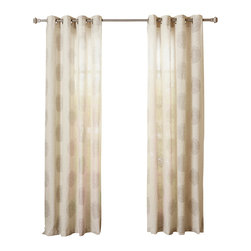 "Best Home Fashion - Linen Blend Medallion Printed Grommet Top 84"" Curtain Panel, Pair, Grey - These gorgeous medallion printed linen blend curtains are a modern decorative touch for your home. Available in three neutral colors, these beautiful curtains will perfectly accent any home décor."