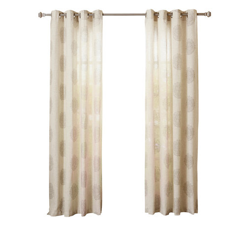 """Best Home Fashion - Linen Blend Medallion Printed Grommet Top 84"""" Curtain Panel, Pair, Grey - These gorgeous medallion printed linen blend curtains are a modern decorative touch for your home. Available in three neutral colors, these beautiful curtains will perfectly accent any home décor."""