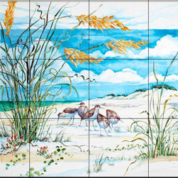 The Tile Mural Store (USA) - Tile Mural - Sandpiper Dunes - Kitchen Backsplash Ideas - This beautiful artwork by Paul Brent has been digitally reproduced for tiles and depicts a group of sandpipers.  Images of waterfowl on tiles are great to use as a part of your kitchen backsplash tile project or your tub and shower surround bathroom tile project. Pictures of egrets on tile, images of herons on tile and decorative tiles with ducks and geese make a great kitchen backsplash idea and are excellent to use in the bathroom too for your shower tile project. Consider a tile mural of water fowl for any room in your home where you want to add interesting wall tile.