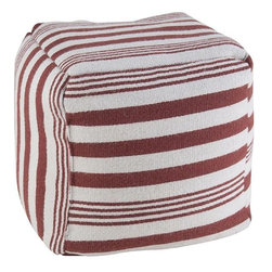 Home Decorators Collection - Stockport Striped Pouf - Available in a variety of colors, our Stockport Striped Pouf offers additional decorative seating for your living room or child's room. This pouf coordinates with the Stockport Striped Pillow, sold separately. Woven of 100% wool. Filled with thermocole (polystyrene) balls. Dry clean only.