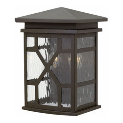 Hinkley Lighting - Clayton Outdoor Wall Sconce - Clayton Outdoor Wall Sconce is available in a Greystone or Oil Rubbed Bronze finish with Clear Water glass.  Available as a small, medium or large.  60 watt, 120 volt B10 type Candelabra base Incandescent lamps are required but not included.  Small: 8.8 inch width x 12.5 inch height x 7 inch depth.  Medium: 8.8 inch width x 18.5 inch height x 7 inch depth.  Large: 11 inch width x 16 inch height x 9 inch depth. Rated for Wet Locations.