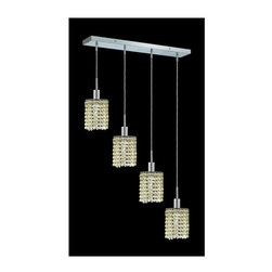 Elegant Lighting - Mini Peridot Crystal Pendant w 4 Lights in Chrome (Royal Cut) - Choose Crystal: Royal Cut. 3 ft. Chain/Wire Included. Bulbs not included. Crystal Color: Lt. Peridot (Light Green). Chrome finish. Number of Bulbs: 4. Bulb Type: GU10. Bulb Wattage: 55. Max Wattage: 220. Voltage: 110V-125V. Assembly required. Meets UL & ULC Standards: Yes. 26 in. D x 8 to 48 in. H (12lbs.)Description of Crystal trim:Royal Cut, a combination of high quality lead free machine cut and machine polished crystals & full-lead machined-cut crystals..SPECTRA Swarovski, this breed of crystal offers maximum optical quality and radiance. Machined cut and polished, a Swarovski technician¢s strict production demands are applied to this lead free, high quality crystal.Strass Swarovski is an exercise in technical perfection, Swarovski ELEMENTS crystal meets all standards of perfection. It is original, flawless and brilliant, possessing lead oxide in excess of 39%. Made in Austria, each facet is perfectly cut and polished by machine to maintain optical purity and consistency. An invisible coating is applied at the end of the process to make the crystal easier to clean. While available in clear it can be specially ordered in a variety of colors.Not all trims are available on all models.