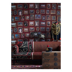 Kathy Kuo Home - European Gallery Classical Framed Artwork Wallpaper- Red - A totally unique wallpaper featuring classical artworks. Fantastic for feature walls, hallways, stairs and landings. This is a construction print wallpaper printed over 3 rolls to give maximum repeat variation. Please note that this design is sold as a 3 roll pack.