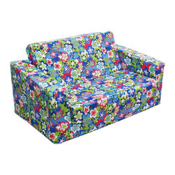Komfy Kings - Komfy Kings Kids Flip Sofa - Happy Talk Blue - 33010 - Shop for Childrens Sofas from Hayneedle.com! The flower power print of the Komfy Kings Kids Flip Sofa - Happy Talk Blue is simply too cute to pass up! Give your little one a place to sit and play on this foam flip out sofa that comes slip-covered. The slip-cover comes off and cleans well with mild soap and water. Recommended for ages two through seven this child's sofa has no sharp corners for extra safety. Seating area measures 21 in. across and when flipped open it is 40 in. fully extended. Great for slumber parties too!