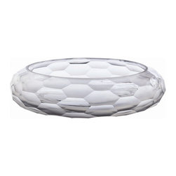 """Arteriors Home - Arteriors Home Ice Faceted Etched/Polished Glass Bowl - Arteriors Home DK2042 - Arteriors Home DK2042 - This heavy glass, faceted and polished at random is the color of ice. This Laura Kirar designed bowl looks beautiful even when empty.Designer: Laura KirarFinish: ClearDimensions: H: 4""""  14"""" DiaWeight: 10lbs.Ships Via: FedEx"""