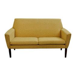 Danish 2 Seat Vintage Yellow Sofa - Dimensions 54.0ʺW × 33.0ʺD × 31.0ʺH