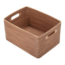"Kouboo - Rattan Utility Basket - This hand-woven rattan utility basket is done ""Hapao style,"" meaning a tight, intricate weave initially created in the Philippines to ensure durability and beautiful longevity. Finished with a coating of clear lacquer for added glossy shine and easy cleaning, this rattan utility basket offers sturdy cut-out handles for ease toting supplies and miscellaneous items back and forth. A honey-brown finish offers a beautiful addition to any room of the home."