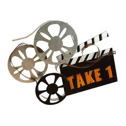 UMA - Director's Movie Reel 'Take 1' Metal Wall Hanging - Movie reels and a director's sign are positioned together in this metal wall sculpture that is ideal for the media room, family room, or game room