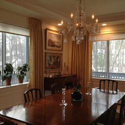 Boston Condominium - Interlined damask curtains re-purposed from former home.  Light-filtering roller shades.