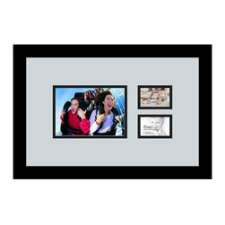 ArtToFrames - ArtToFrames Collage Photo Frame  with 1 - 5x7 and 2 - 2.25x3.25 Openings - This sleek Satin Black, 1.25 inch wide collage frame, presents an arrangement for 1 - 5x7 and 2 - 2.25x3.25 masterpieces of your choice. This collage is part of an extensive collage frame compilation and boasts a broad line of carefully constructed frames at a affordable price tag you can gloat about! Handmade and formed to suit your masterpieces making sure you 1 - 5x7 and 2 - 2.25x3.25 art will fit right in. Bordered in a striking Satin Black, sleek frame and accompanied by a clean Baby Blue mat, the collage arrangement absolutely flaunts your very own prized artwork, and good-time memories in an entirely special and fresh way. This collage frame comes protected in Regular Glass, available with proper hardware and can be displayed with ease. These superior quality and authentic wood-based collage frames differ in tone and size; all in contemporary and modern design. Mats are available in a multitude of color tones, spaces, and shapes. It's time to tell your story! Preserving your holding onto your memories in an original and imaginative contemporary way has never been easier.